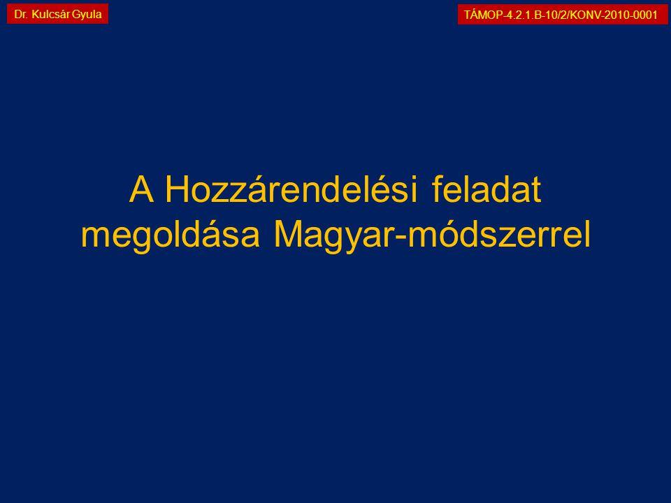 TÁMOP-4.2.1.B-10/2/KONV-2010-0001 Dr. Kulcsár Gyula A Hozzárendelési feladat megoldása Magyar-módszerrel