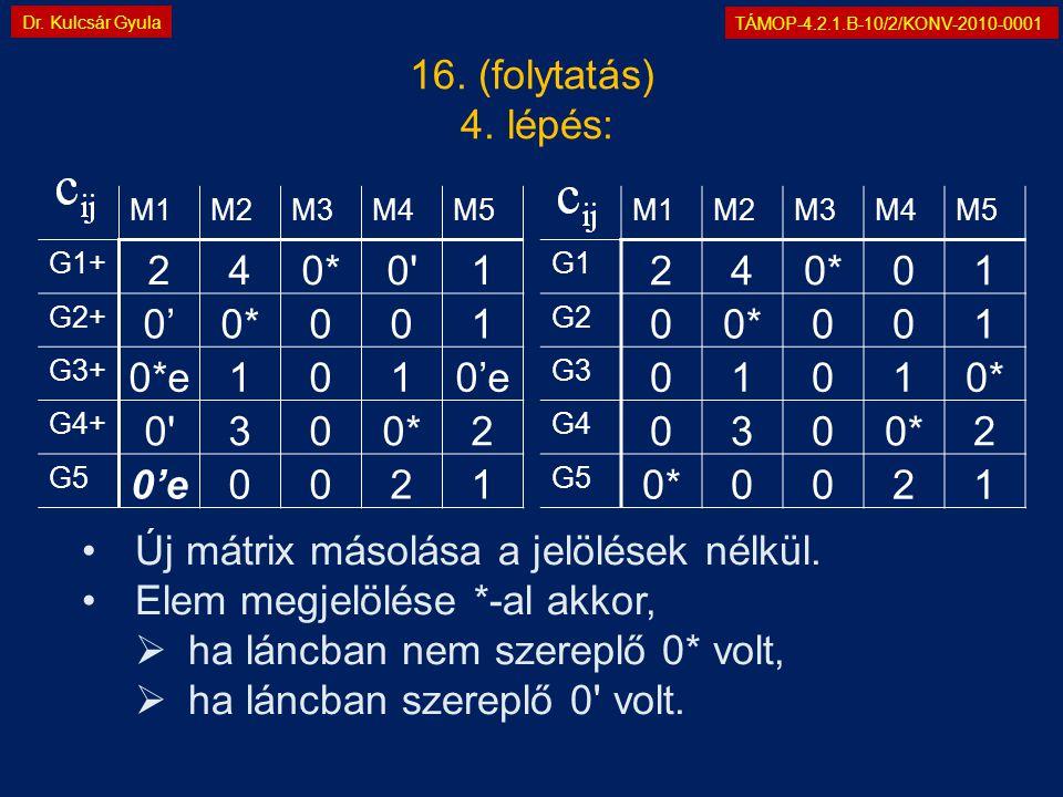 TÁMOP-4.2.1.B-10/2/KONV-2010-0001 Dr. Kulcsár Gyula 16. (folytatás) 4. lépés: M1M2M3M4M5 G1 240*01 G2 00*001 G3 01010* G4 0300*2 G5 0*0021 M1M2M3M4M5
