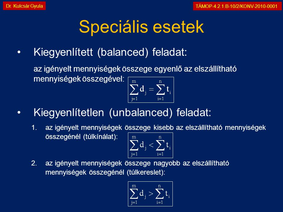 TÁMOP-4.2.1.B-10/2/KONV-2010-0001 Dr. Kulcsár Gyula Speciális esetek •Kiegyenlített (balanced) feladat: az igényelt mennyiségek összege egyenlő az els