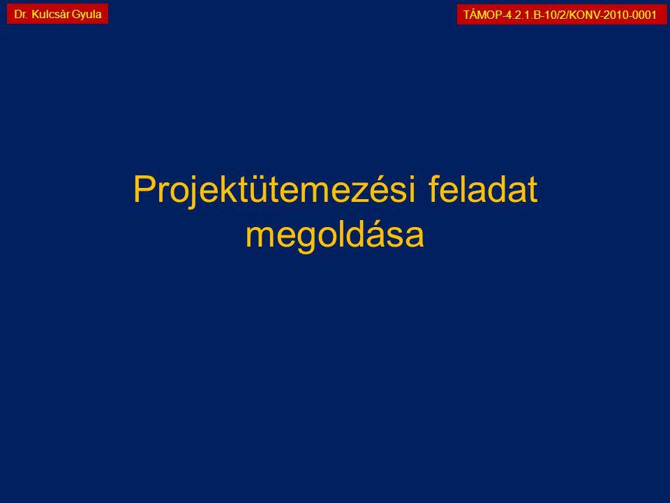 TÁMOP-4.2.1.B-10/2/KONV-2010-0001 Dr. Kulcsár Gyula Projektütemezési feladat megoldása