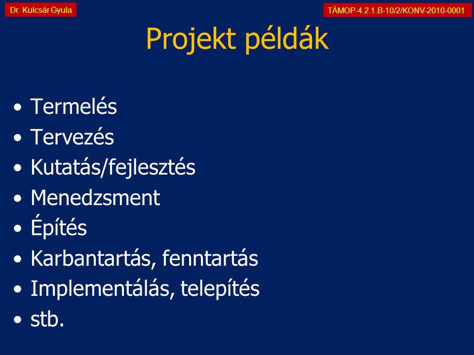 TÁMOP-4.2.1.B-10/2/KONV-2010-0001 Dr. Kulcsár Gyula Projekt példák •Termelés •Tervezés •Kutatás/fejlesztés •Menedzsment •Építés •Karbantartás, fenntar