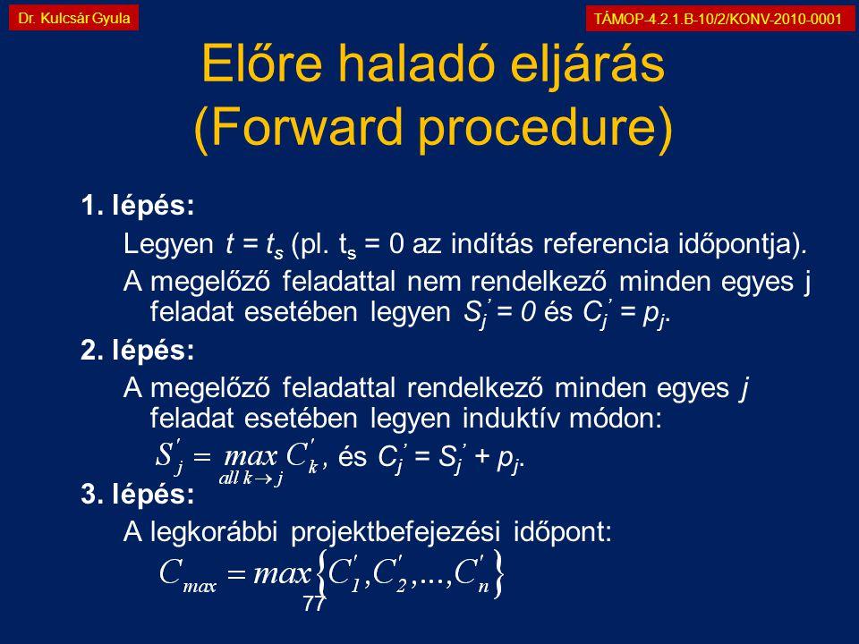 TÁMOP-4.2.1.B-10/2/KONV-2010-0001 Dr. Kulcsár Gyula 77 1. lépés: Legyen t = t s (pl. t s = 0 az indítás referencia időpontja). A megelőző feladattal n