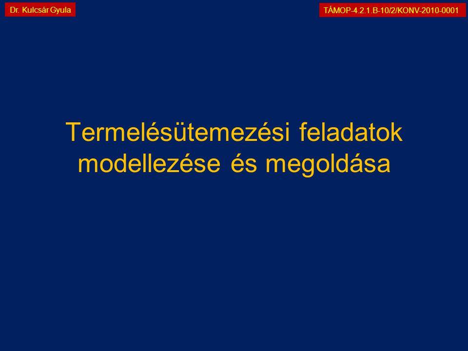 TÁMOP-4.2.1.B-10/2/KONV-2010-0001 Dr. Kulcsár Gyula Termelésütemezési feladatok modellezése és megoldása