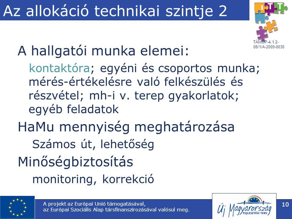 TÁMOP-4.1.2- 08/1/A-2009-0030 Az allokáció technikai szintje 2 A hallgatói munka elemei: kontaktóra; egyéni és csoportos munka; mérés-értékelésre való