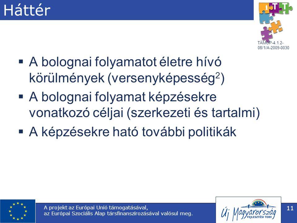 TÁMOP-4.1.2- 08/1/A-2009-0030 A projekt az Európai Unió támogatásával, az Európai Szociális Alap társfinanszírozásával valósul meg. 11 Háttér  A bolo