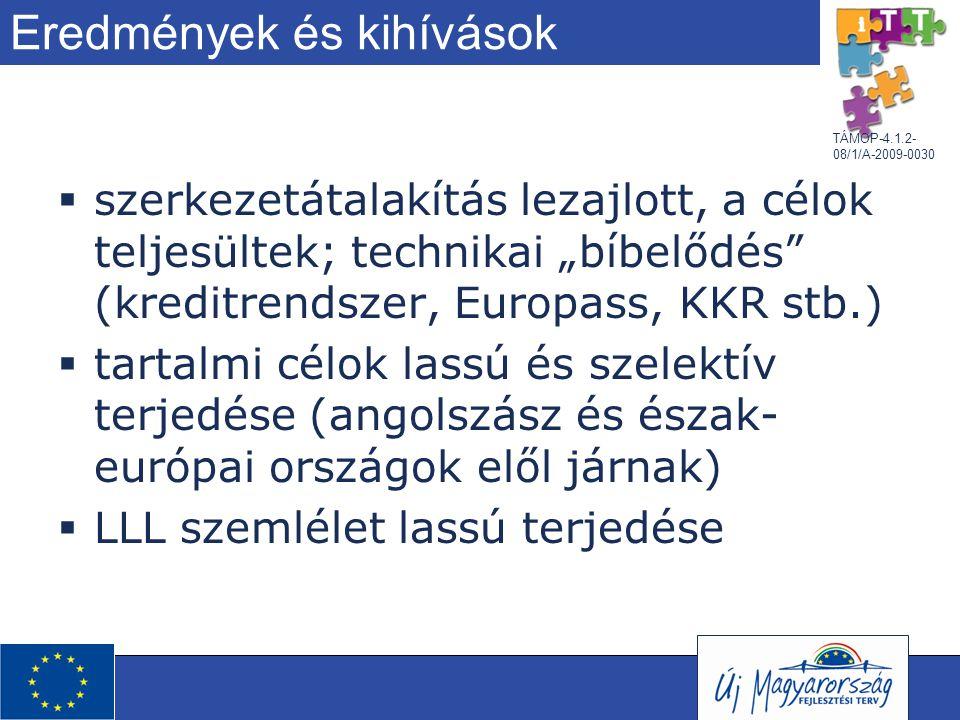 """TÁMOP-4.1.2- 08/1/A-2009-0030 Eredmények és kihívások  szerkezetátalakítás lezajlott, a célok teljesültek; technikai """"bíbelődés"""" (kreditrendszer, Eur"""