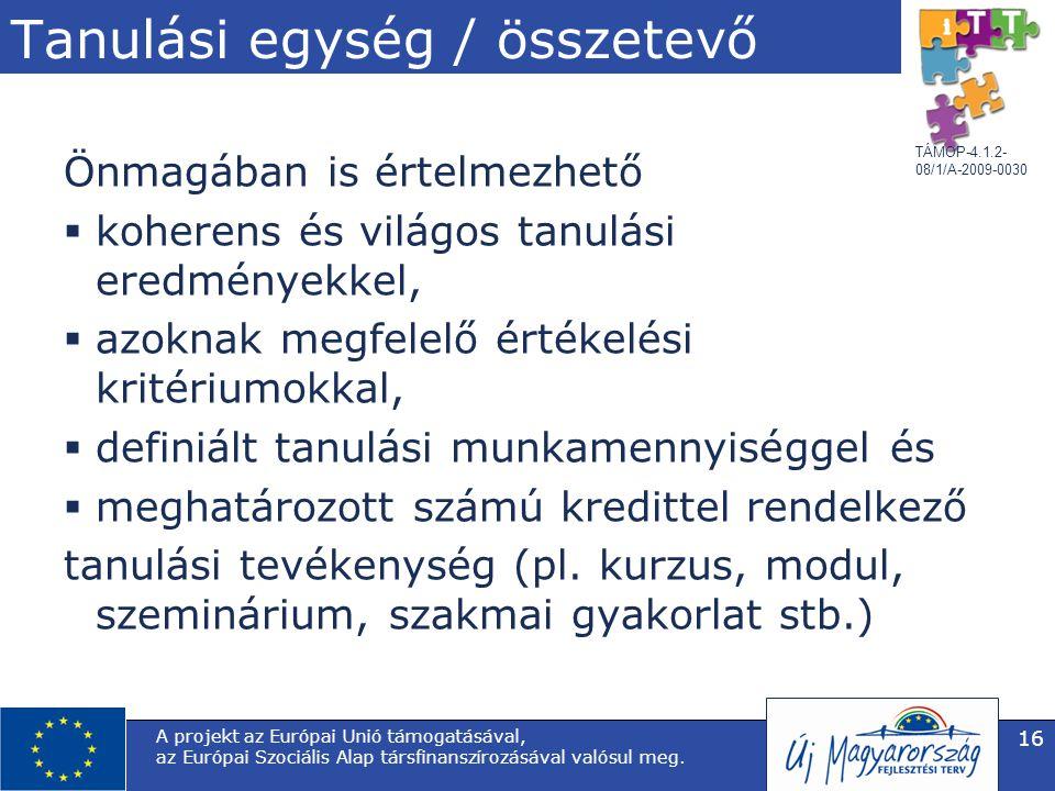 TÁMOP-4.1.2- 08/1/A-2009-0030 Tanulási egység / összetevő Önmagában is értelmezhető  koherens és világos tanulási eredményekkel,  azoknak megfelelő