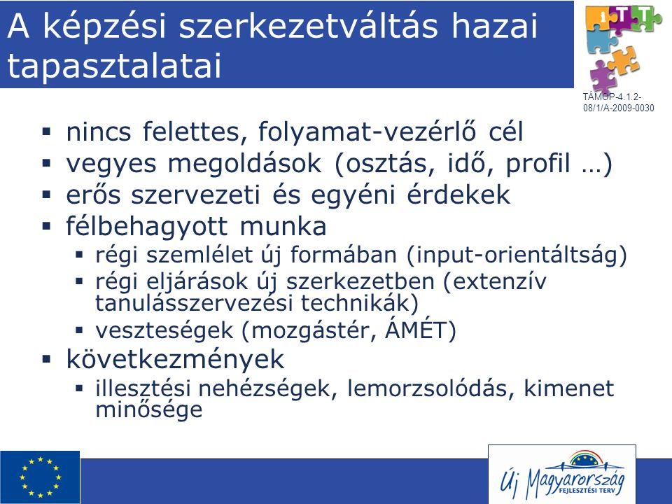 """TÁMOP-4.1.2- 08/1/A-2009-0030 Eredmények és kihívások  szerkezetátalakítás lezajlott, a célok teljesültek; technikai """"bíbelődés (kreditrendszer, Europass, KKR stb.)  tartalmi célok lassú és szelektív terjedése (angolszász és észak- európai országok elől járnak)  LLL szemlélet lassú terjedése"""