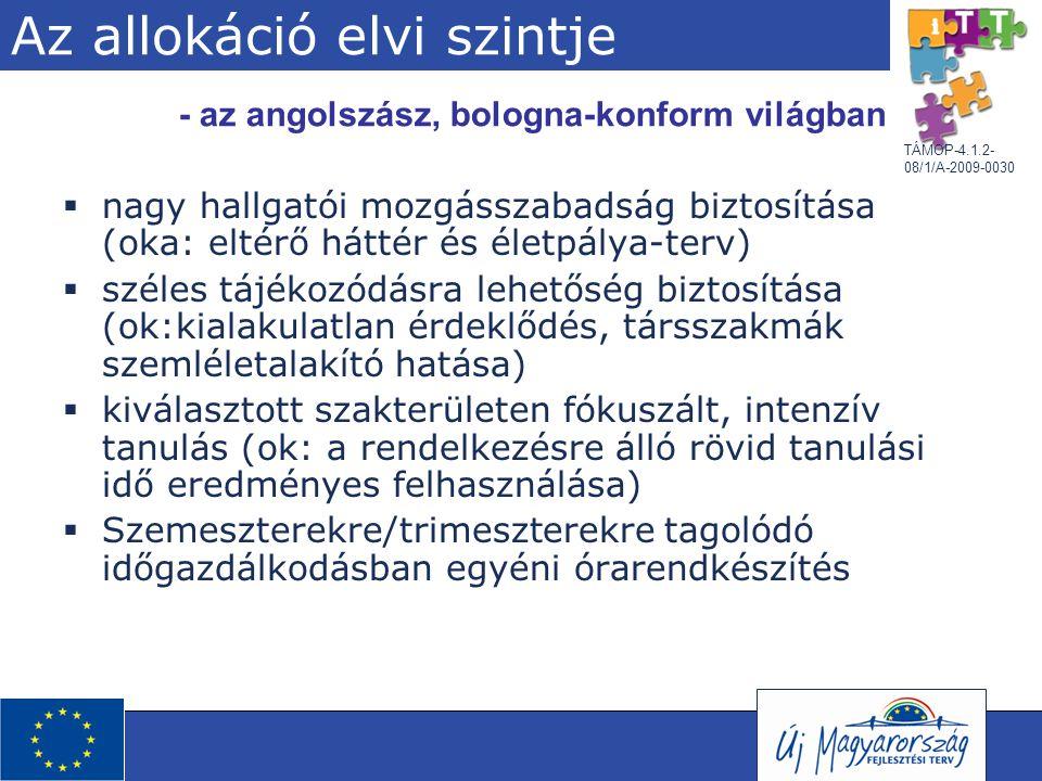 TÁMOP-4.1.2- 08/1/A-2009-0030 Az allokáció elvi szintje  nagy hallgatói mozgásszabadság biztosítása (oka: eltérő háttér és életpálya-terv)  széles t