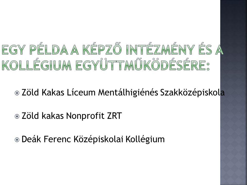  Zöld Kakas Líceum Mentálhigiénés Szakközépiskola  Zöld kakas Nonprofit ZRT  Deák Ferenc Középiskolai Kollégium