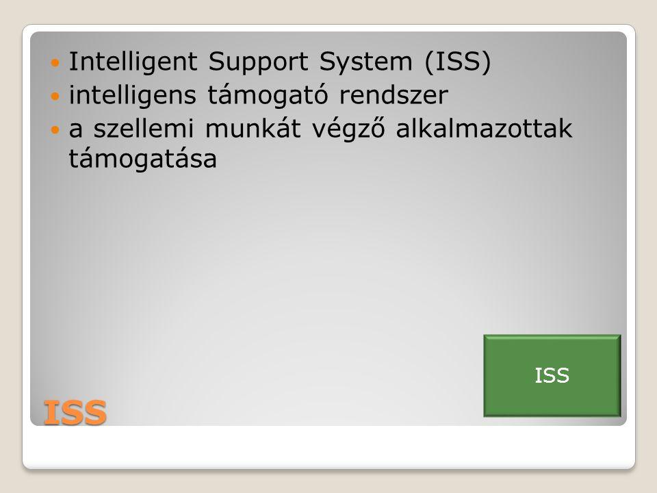 ISS  Intelligent Support System (ISS)  intelligens támogató rendszer  a szellemi munkát végző alkalmazottak támogatása ISS