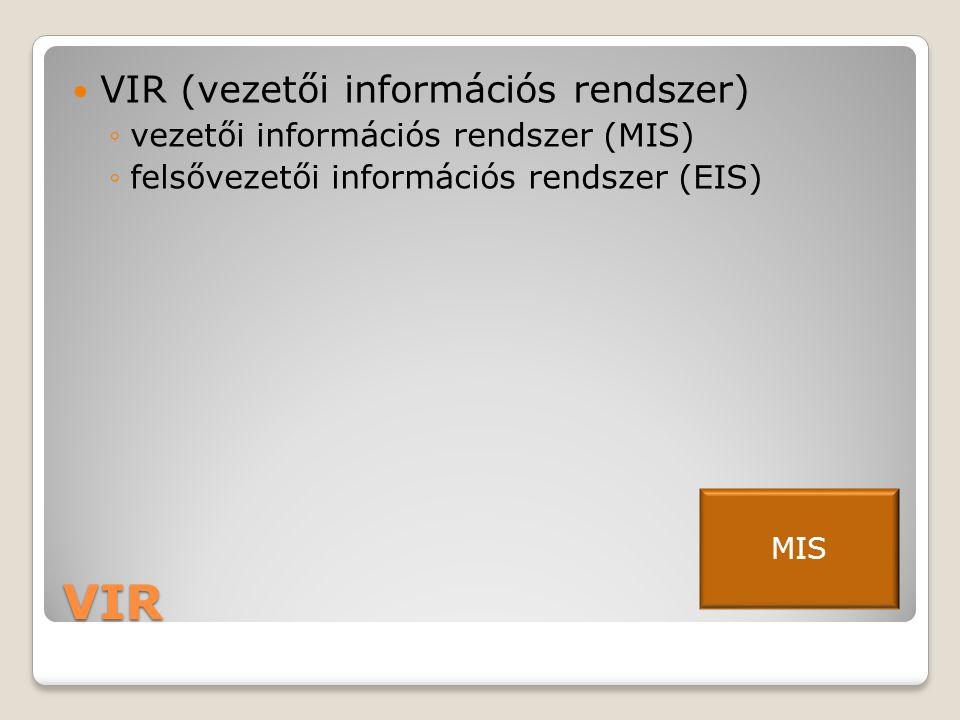 VIR  VIR (vezetői információs rendszer) ◦vezetői információs rendszer (MIS) ◦felsővezetői információs rendszer (EIS) MIS