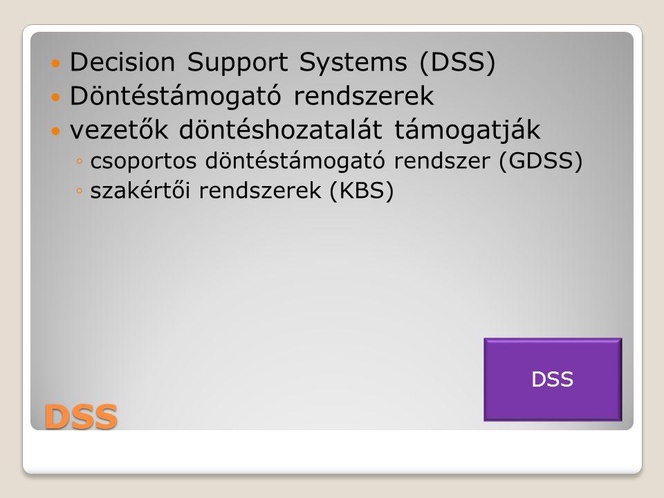 DSS  Decision Support Systems (DSS)  Döntéstámogató rendszerek  vezetők döntéshozatalát támogatják ◦csoportos döntéstámogató rendszer (GDSS) ◦szakértői rendszerek (KBS) DSS