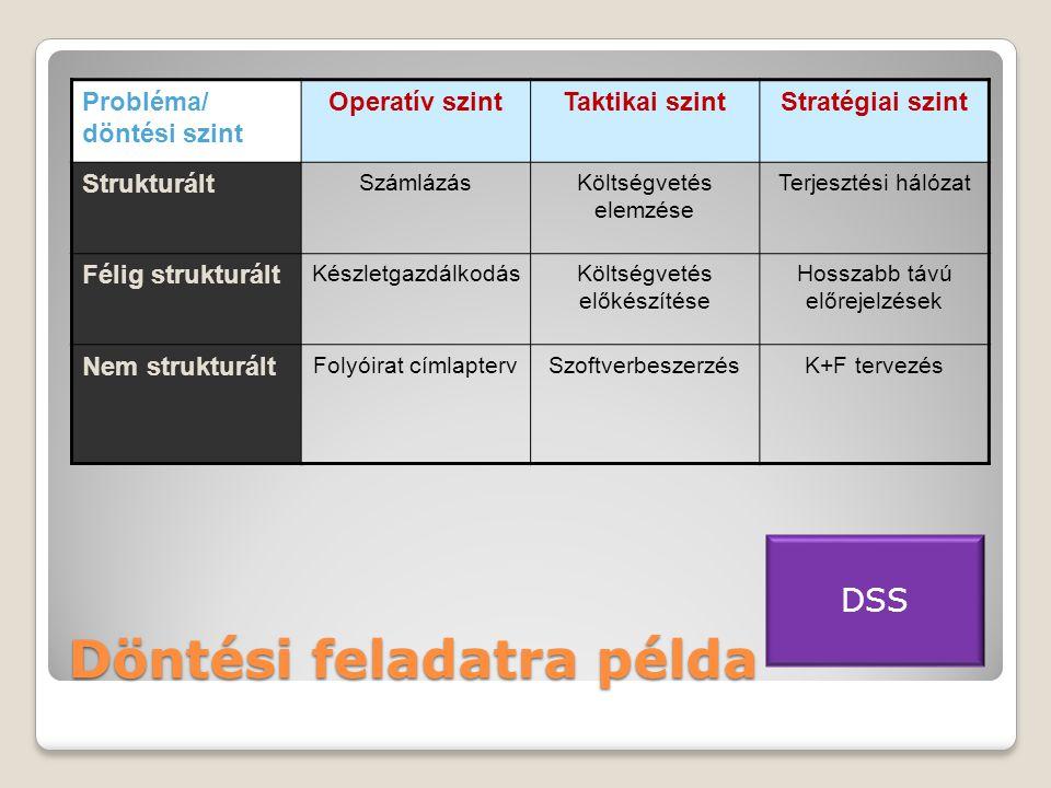 Döntési feladatra példa Probléma/ döntési szint Operatív szintTaktikai szintStratégiai szint Strukturált SzámlázásKöltségvetés elemzése Terjesztési hálózat Félig strukturált KészletgazdálkodásKöltségvetés előkészítése Hosszabb távú előrejelzések Nem strukturált Folyóirat címlaptervSzoftverbeszerzésK+F tervezés DSS