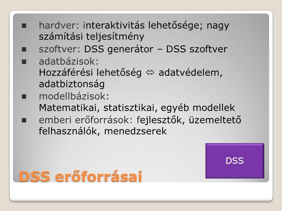 DSS erőforrásai  hardver: interaktivitás lehetősége; nagy számítási teljesítmény  szoftver: DSS generátor – DSS szoftver  adatbázisok: Hozzáférési lehetőség  adatvédelem, adatbiztonság  modellbázisok: Matematikai, statisztikai, egyéb modellek  emberi erőforrások: fejlesztők, üzemeltető felhasználók, menedzserek DSS
