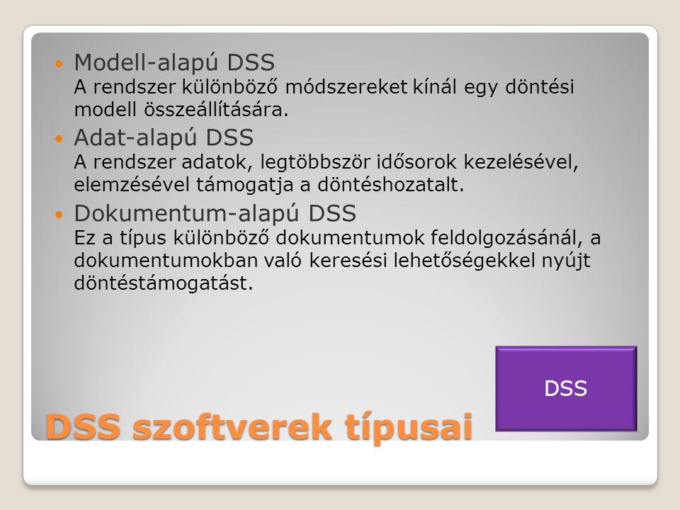 DSS szoftverek típusai  Modell-alapú DSS A rendszer különböző módszereket kínál egy döntési modell összeállítására.