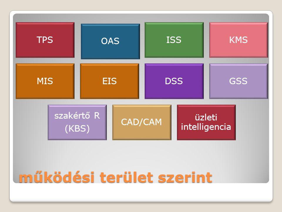 működési terület szerint TPS OAS ISSKMS MISEISDSSGSS szakértő R (KBS) CAD/CAM üzleti intelligencia
