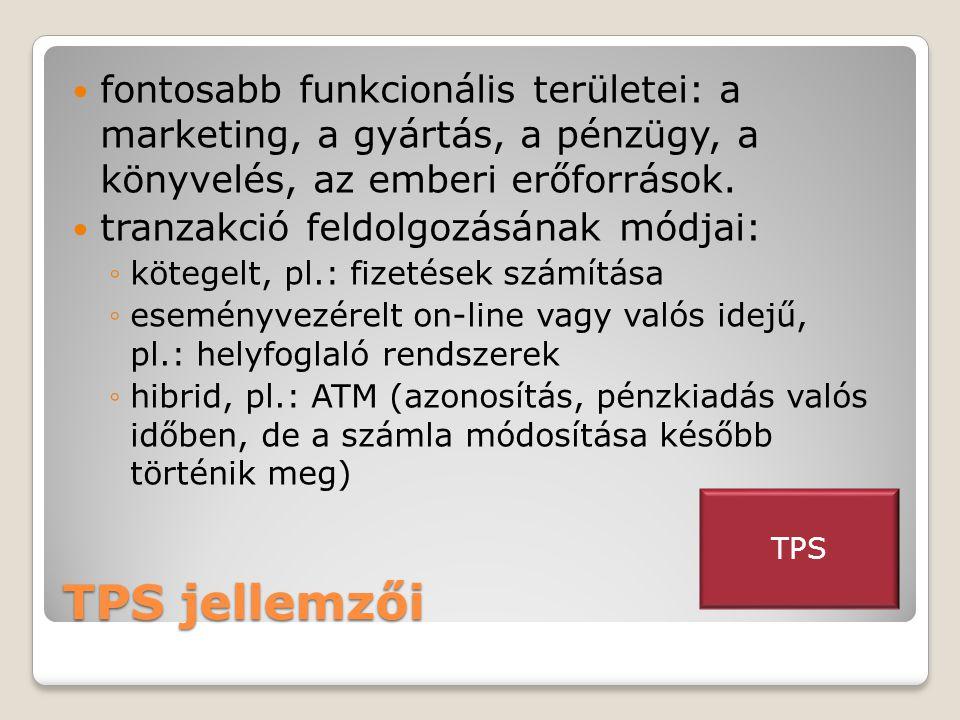 TPS jellemzői  fontosabb funkcionális területei: a marketing, a gyártás, a pénzügy, a könyvelés, az emberi erőforrások.