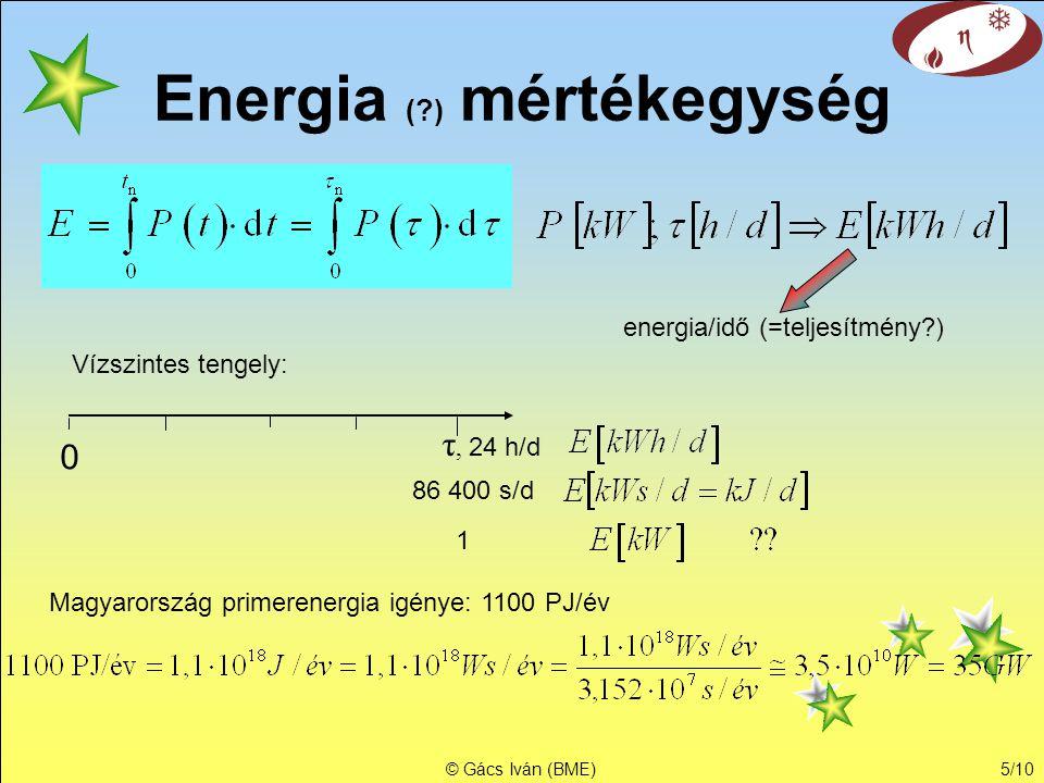 © Gács Iván (BME)5/10 Energia (?) mértékegység energia/idő (=teljesítmény?) 0 τ, 24 h/d Vízszintes tengely: 86 400 s/d 1 Magyarország primerenergia ig