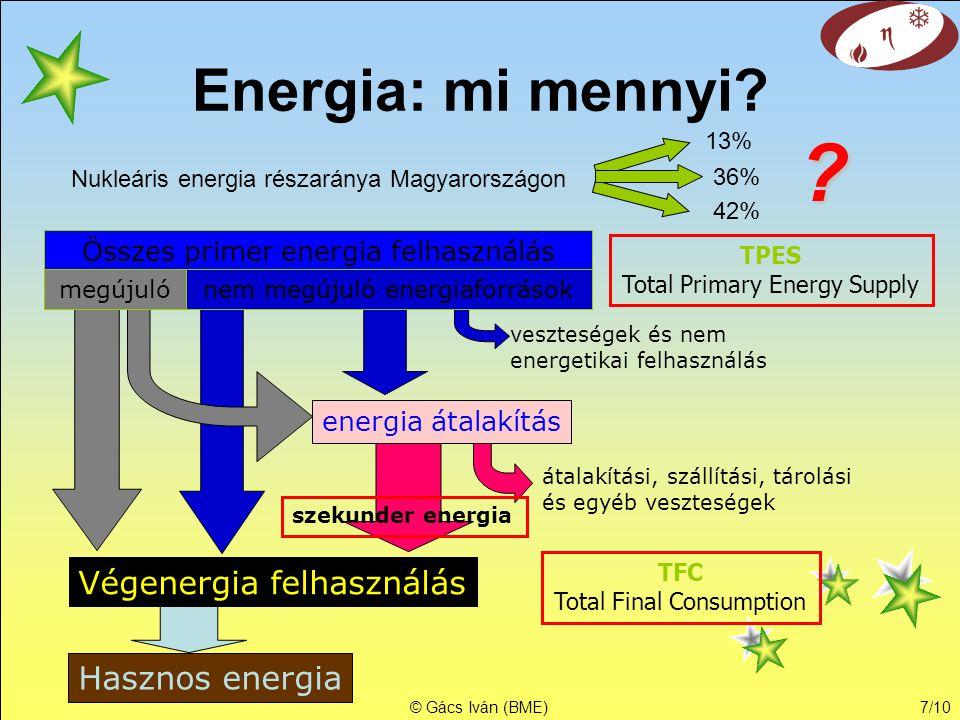 © Gács Iván (BME)7/10 Energia: mi mennyi? Nukleáris energia részaránya Magyarországon 13% 36% ? Összes primer energia felhasználás megújuló nem megúju