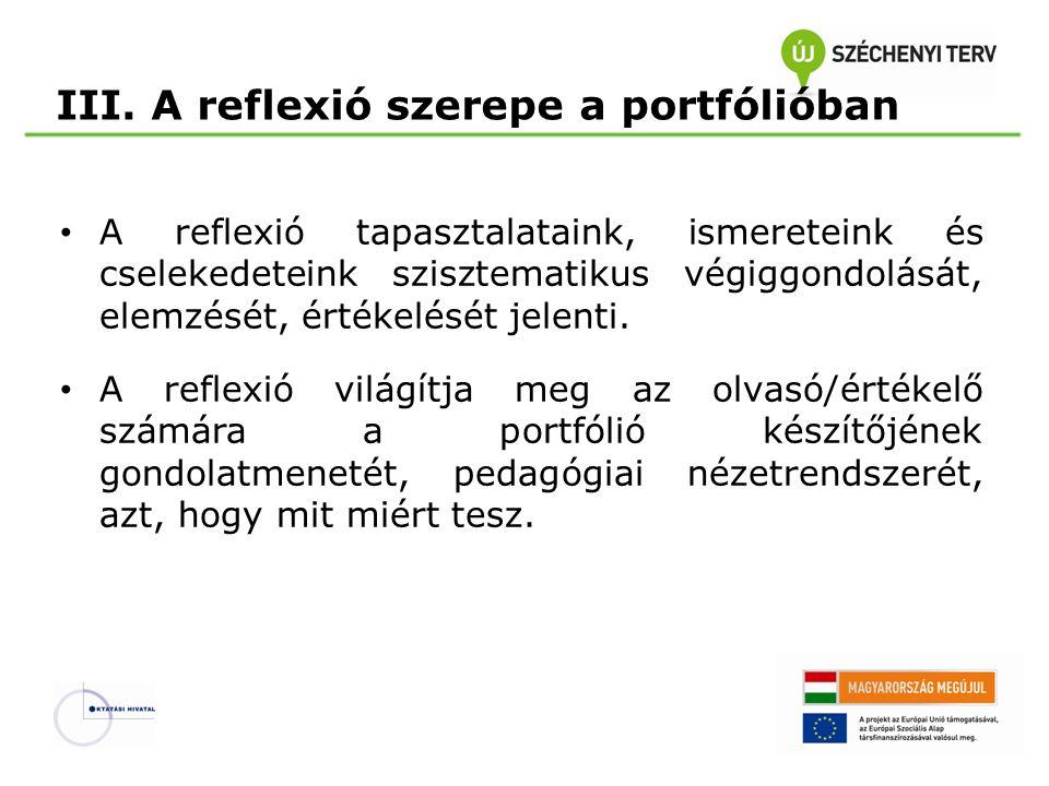 III. A reflexió szerepe a portfólióban • A reflexió tapasztalataink, ismereteink és cselekedeteink szisztematikus végiggondolását, elemzését, értékelé
