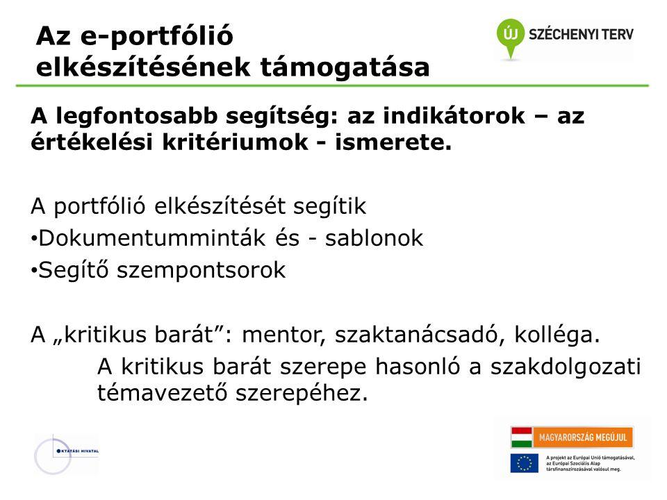 Az e-portfólió elkészítésének támogatása A legfontosabb segítség: az indikátorok – az értékelési kritériumok - ismerete. A portfólió elkészítését segí