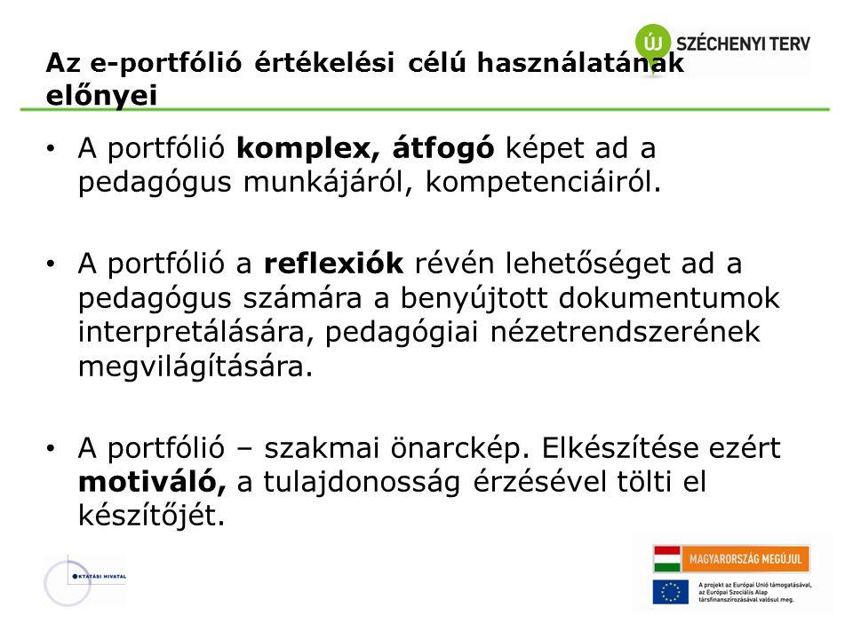 Az e-portfólió értékelési célú használatának előnyei • A portfólió komplex, átfogó képet ad a pedagógus munkájáról, kompetenciáiról. • A portfólió a r