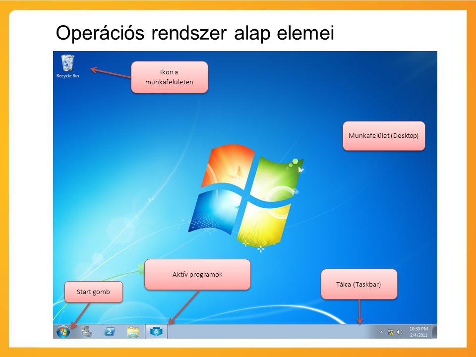 Munkafelület (Desktop) Tálca (Taskbar) Akt í v programok Start gomb Ikon a munkafelületen Operációs rendszer alap elemei