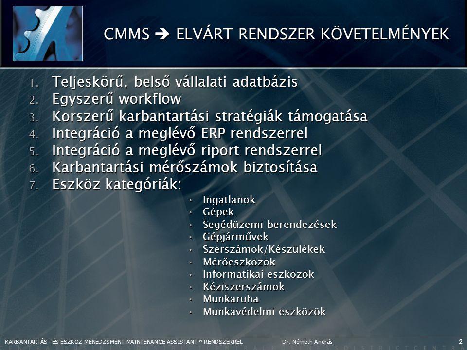 CMMS  ELVÁRT RENDSZER KÖVETELMÉNYEK 1. Teljeskörű, belső vállalati adatbázis 2. Egyszerű workflow 3. Korszerű karbantartási stratégiák támogatása 4.