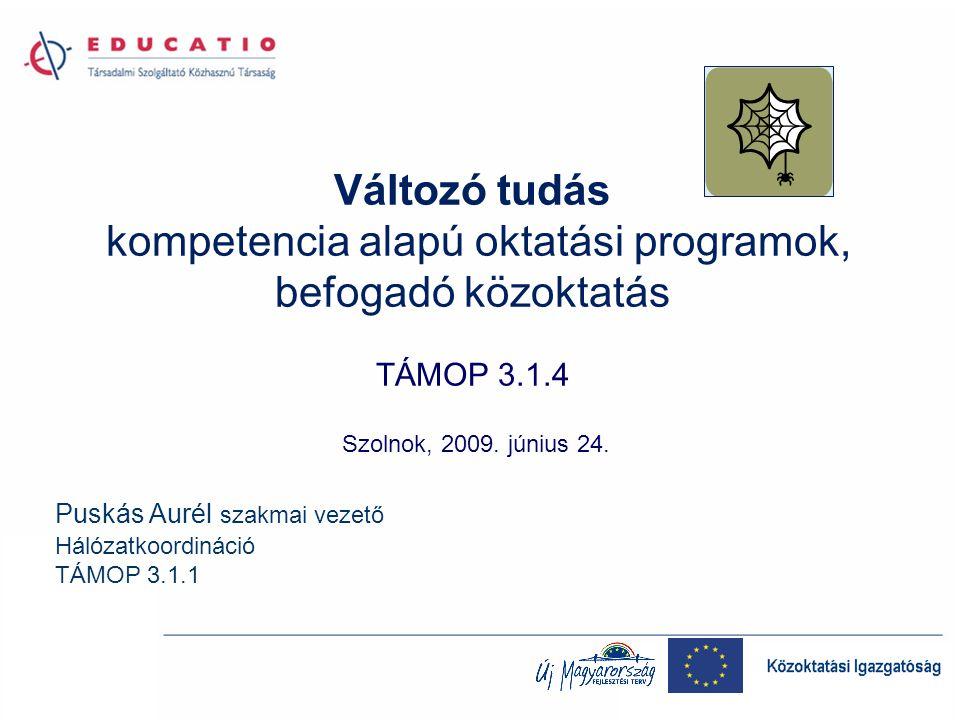 Változó tudás kompetencia alapú oktatási programok, befogadó közoktatás TÁMOP 3.1.4 Szolnok, 2009.