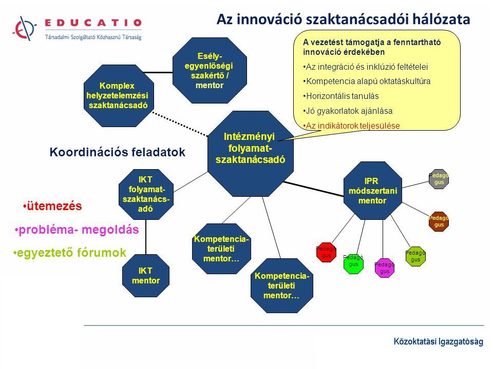 Az innováció szaktanácsadói hálózata Intézményi folyamat- szaktanácsadó Esély- egyenlőségi szakértő / mentor Komplex helyzetelemzési szaktanácsadó IPR módszertani mentor Kompetencia- területi mentor… Kompetencia- területi mentor… IKT folyamat- szaktanács- adó IKT mentor A vezetést támogatja a fenntartható innováció érdekében •Az integráció és inklúzió feltételei •Kompetencia alapú oktatáskultúra •Horizontális tanulás •Jó gyakorlatok ajánlása •Az indikátorok teljesülése Pedagó gus Pedagó gus Pedagó gus Pedagó gus Pedagó gus Koordinációs feladatok •ütemezés •probléma- megoldás •egyeztető fórumok Pedagó gus