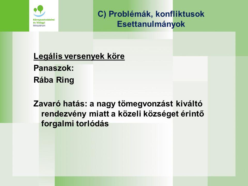 C) Problémák, konfliktusok Esettanulmányok Legális versenyek köre Panaszok: Rába Ring Zavaró hatás: a nagy tömegvonzást kiváltó rendezvény miatt a közeli községet érintő forgalmi torlódás