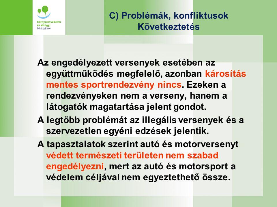 C) Problémák, konfliktusok Következtetés Az engedélyezett versenyek esetében az együttműködés megfelelő, azonban károsítás mentes sportrendezvény nincs.