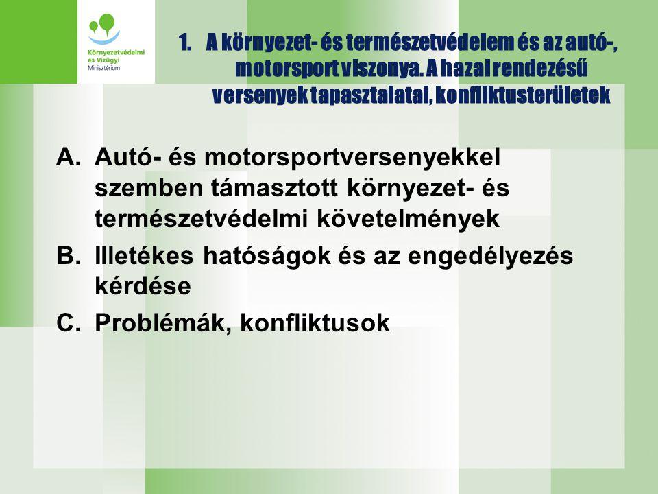 1.A környezet- és természetvédelem és az autó-, motorsport viszonya. A hazai rendezésű versenyek tapasztalatai, konfliktusterületek A.Autó- és motorsp
