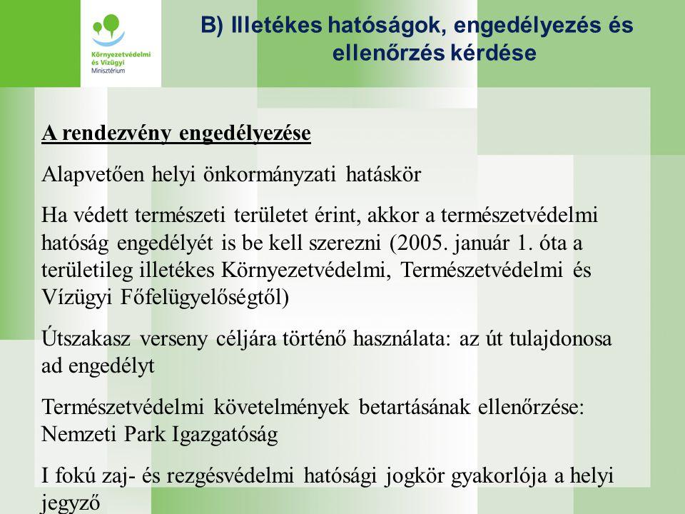 B) Illetékes hatóságok, engedélyezés és ellenőrzés kérdése A rendezvény engedélyezése Alapvetően helyi önkormányzati hatáskör Ha védett természeti területet érint, akkor a természetvédelmi hatóság engedélyét is be kell szerezni (2005.