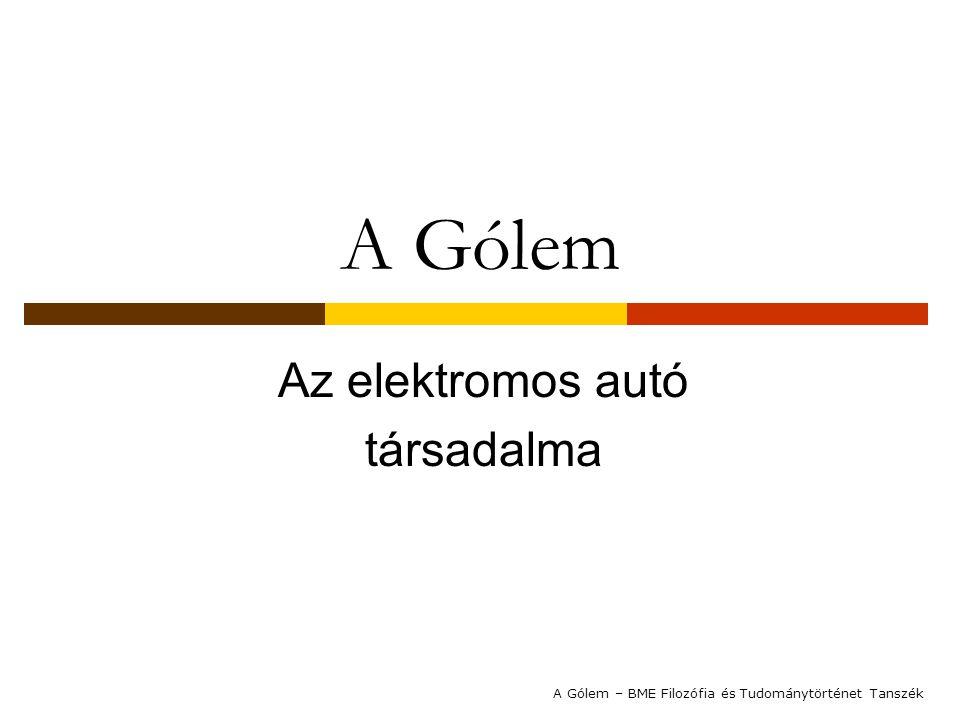 A Gólem Az elektromos autó társadalma A Gólem – BME Filozófia és Tudománytörténet Tanszék