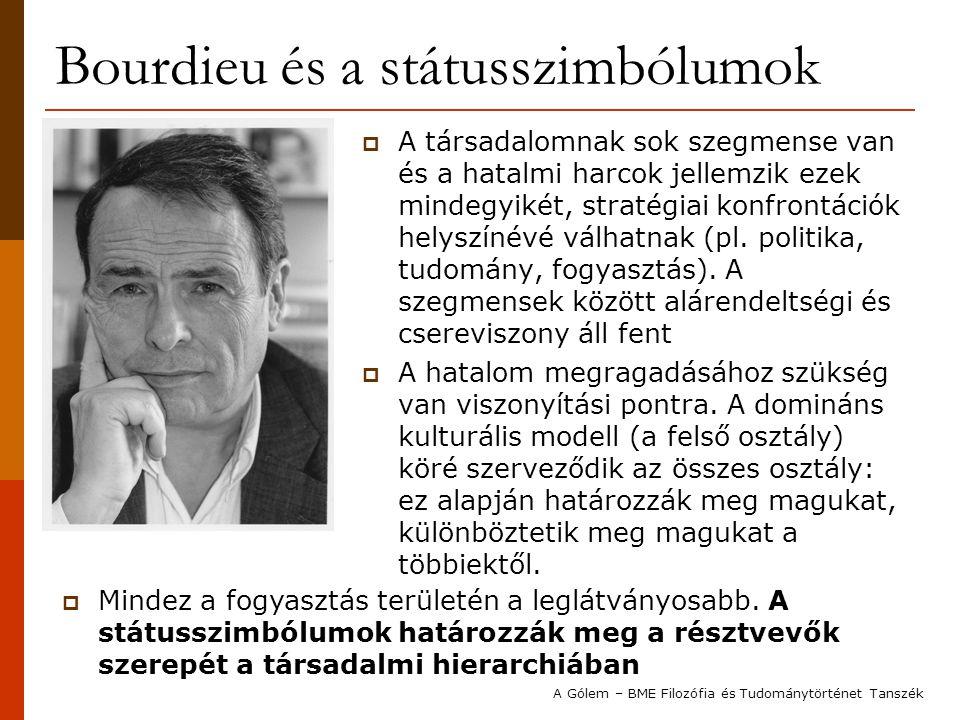 Bourdieu és a státusszimbólumok  A társadalomnak sok szegmense van és a hatalmi harcok jellemzik ezek mindegyikét, stratégiai konfrontációk helyszíné