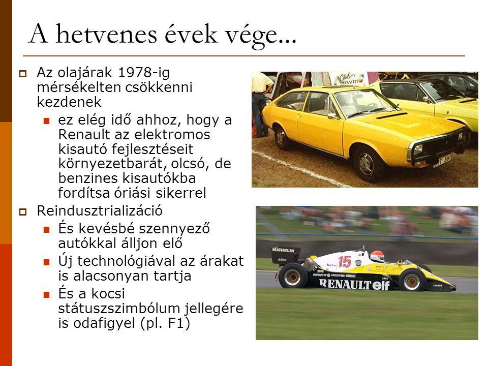 A hetvenes évek vége...  Az olajárak 1978-ig mérsékelten csökkenni kezdenek  ez elég idő ahhoz, hogy a Renault az elektromos kisautó fejlesztéseit k