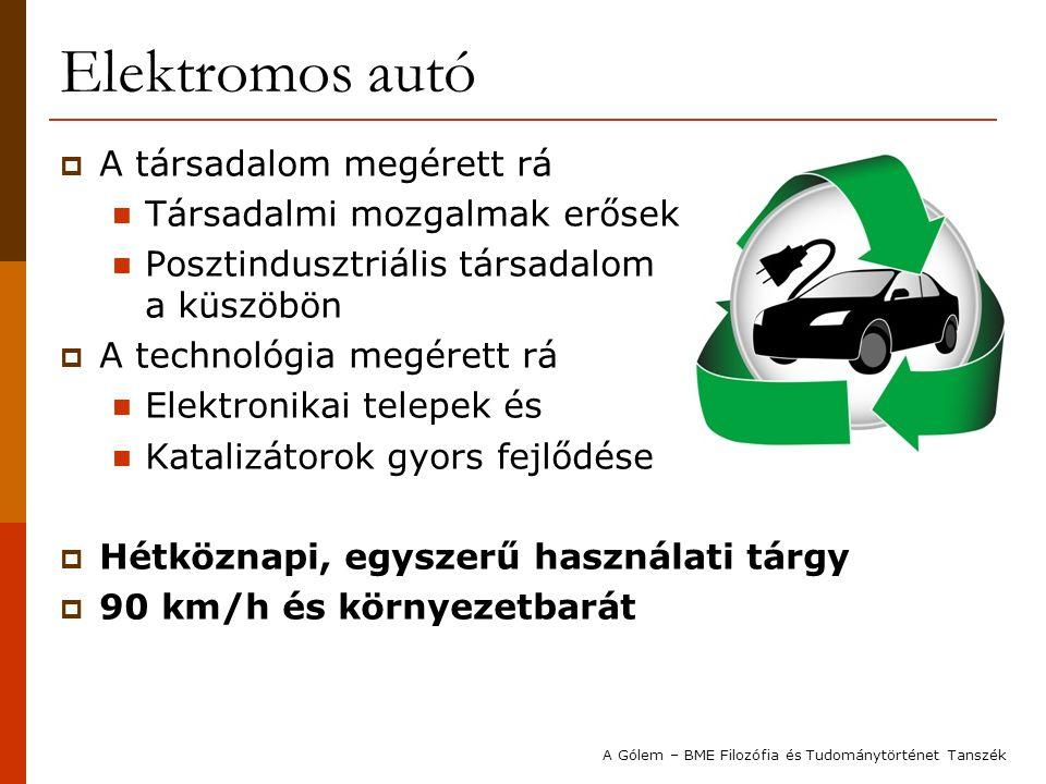 Elektromos autó  A társadalom megérett rá  Társadalmi mozgalmak erősek  Posztindusztriális társadalom a küszöbön  A technológia megérett rá  Elek