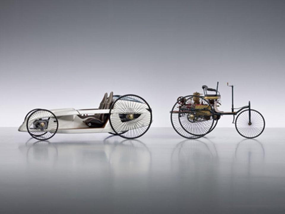 Az első autó  Karl Benz (1844-1929) német mérnök 1886-ban alkotta meg a Patentwagen (szabadalmaztatott jármű) nevű háromkerekű kocsit. A motorja egy