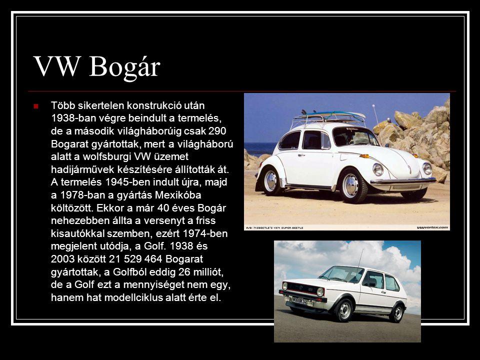 VW Bogár  Több sikertelen konstrukció után 1938-ban végre beindult a termelés, de a második világháborúig csak 290 Bogarat gyártottak, mert a világhá