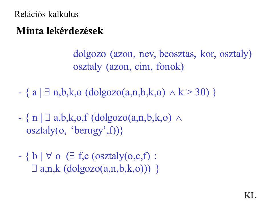 Relációs kalkulus KL Minta lekérdezések dolgozo (azon, nev, beosztas, kor, osztaly) osztaly (azon, cim, fonok) - { a |  n,b,k,o (dolgozo(a,n,b,k,o)  k > 30) } - { n |  a,b,k,o,f (dolgozo(a,n,b,k,o)  osztaly(o, 'berugy',f))} - { b |  o (  f,c (osztaly(o,c,f) :  a,n,k (dolgozo(a,n,b,k,o))) }