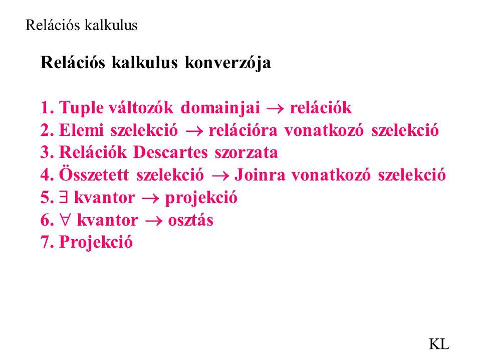 KL Relációs kalkulus Relációs kalkulus konverzója 1.
