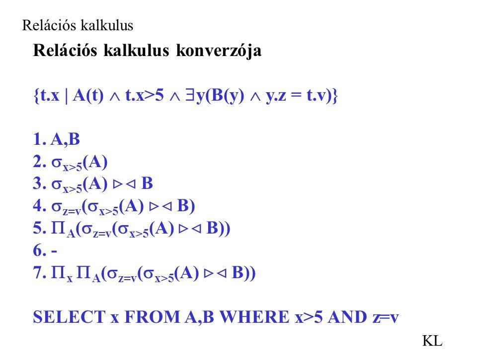KL Relációs kalkulus Relációs kalkulus konverzója {t.x | A(t)  t.x>5   y(B(y)  y.z = t.v)} 1.