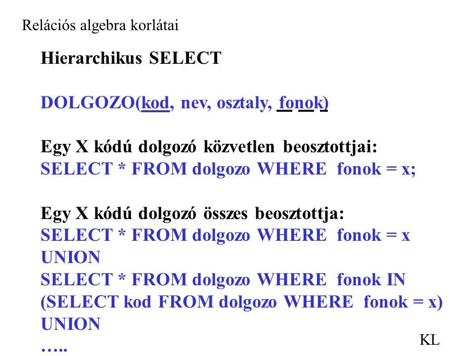 KL Relációs algebra korlátai Hierarchikus SELECT DOLGOZO(kod, nev, osztaly, fonok) Egy X kódú dolgozó közvetlen beosztottjai: SELECT * FROM dolgozo WHERE fonok = x; Egy X kódú dolgozó összes beosztottja: SELECT * FROM dolgozo WHERE fonok = x UNION SELECT * FROM dolgozo WHERE fonok IN (SELECT kod FROM dolgozo WHERE fonok = x) UNION …..