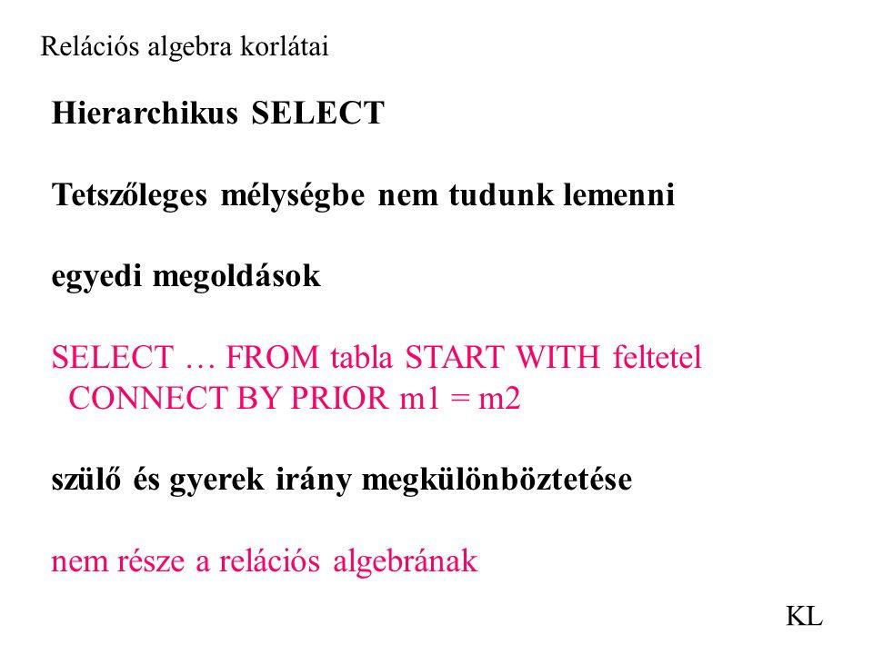 Relációs algebra korlátai KL Hierarchikus SELECT Tetszőleges mélységbe nem tudunk lemenni egyedi megoldások SELECT … FROM tabla START WITH feltetel CONNECT BY PRIOR m1 = m2 szülő és gyerek irány megkülönböztetése nem része a relációs algebrának