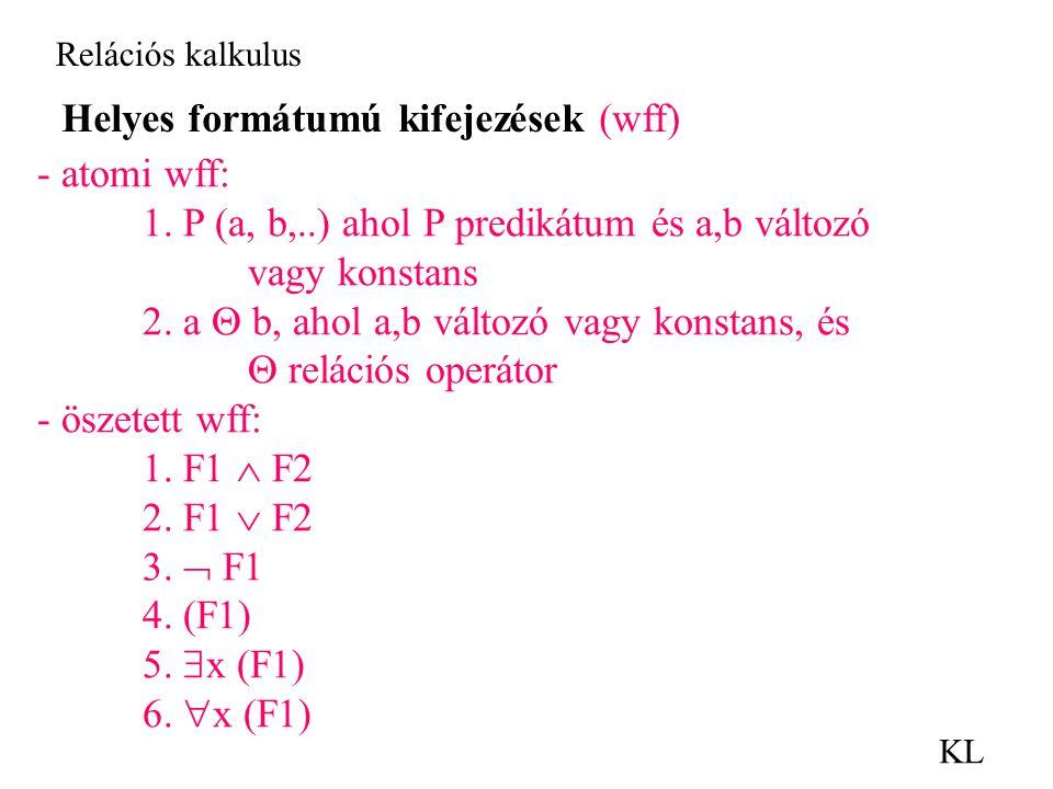 Relációs kalkulus KL Helyes formátumú kifejezések (wff) - atomi wff: 1.