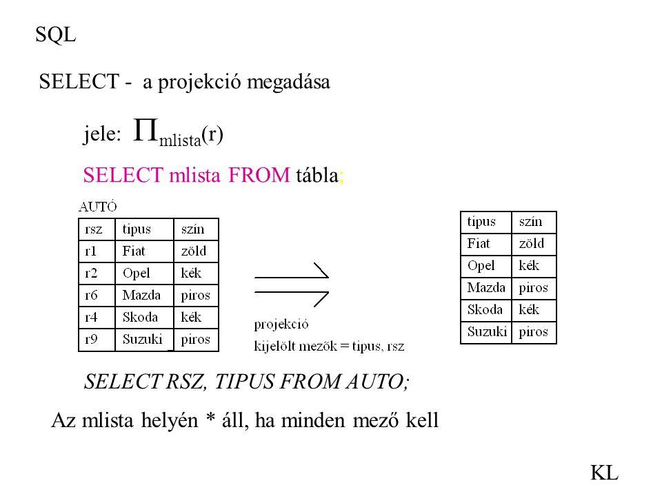 SQL KL SELECT - a projekció megadása jele:  mlista (r) SELECT RSZ, TIPUS FROM AUTO; SELECT mlista FROM tábla; Az mlista helyén * áll, ha minden mező