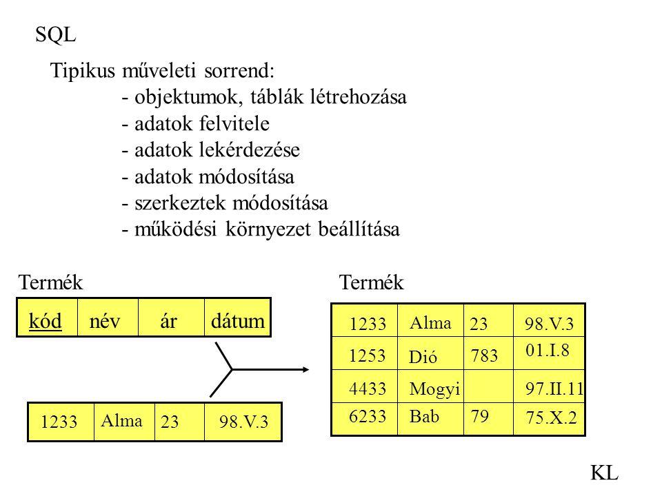 SQL KL Tipikus műveleti sorrend: - objektumok, táblák létrehozása - adatok felvitele - adatok lekérdezése - adatok módosítása - szerkeztek módosítása