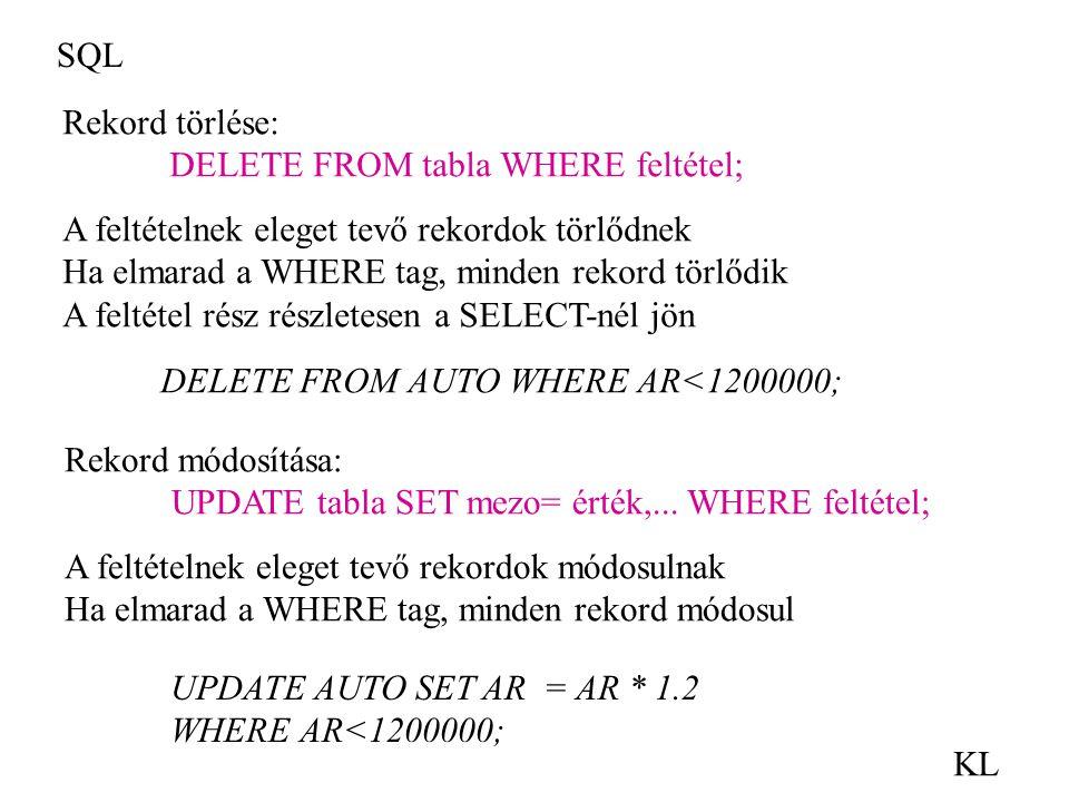 SQL KL Rekord törlése: DELETE FROM tabla WHERE feltétel; A feltételnek eleget tevő rekordok törlődnek Ha elmarad a WHERE tag, minden rekord törlődik A